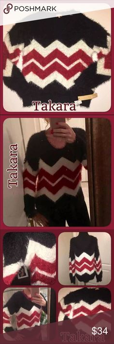 NWT Takara Black & Red Fuzzy Soft Sweater NWT Takara sweater! So soft you will want to sleep in it! Purchased for my daughter at Dillards a couple years ago & she never wore it! Has been hanging in her closet. I only put it on to show fit. Size Large. Not heavy & is stretchy! Takara Sweaters Crew & Scoop Necks