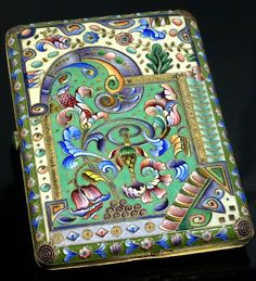 Antique Russian Silver and Enamel Cigarette Case