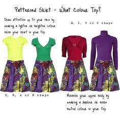 Patterned Skirt - What Colour Top? If you are an A shape, choose a lighter or brigher colour from the top to draw attention away from the hips/thighs and up to your face.