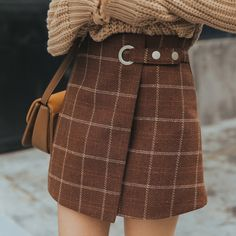 Cute Womens Clothing Skirt on Girly Girl の To Alice.Kpop Vintage Plaid Wool Skirt High Waist A-Line Midskirt Gg610 catches up with the Girly Girl style.Get yourself ready to look fashion.Don't miss it.