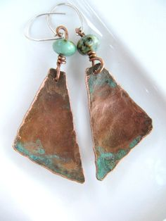Copper Jewelry, African Turquoise, Patina, Triangles, Earrings,. $26.00, via Etsy.