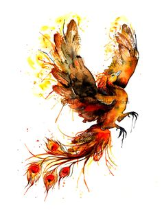Phoenix Watercolor Painting