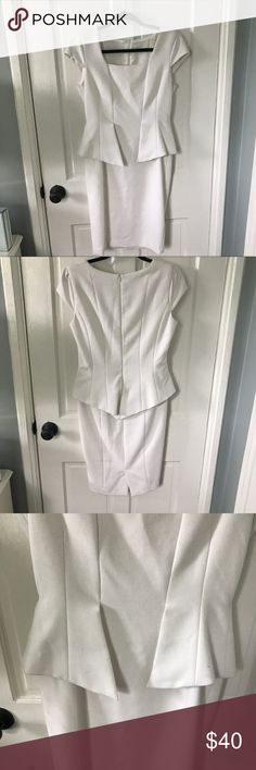 White Zara dress Great condition white dress with peplum accent and pencil skirt fit, knee length Zara Dresses
