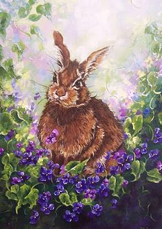 Rabbit with Violets