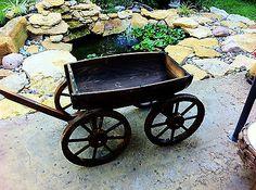 WOOD-Wine-whiskey-BARREL-outdoor-Wagon-Flower-garden-planter-plant-pot-stand