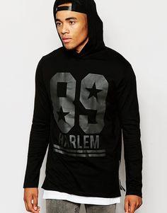 Imagen 1 de Camiseta extralarga de manga larga con capucha, cremalleras laterales y estampado Harlem de ASOS