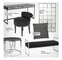 """""""Eichholtz Furniture"""" by kathykuohome ❤ liked on Polyvore featuring interior, interiors, interior design, home, home decor, interior decorating, Eichholtz, black and Silver"""