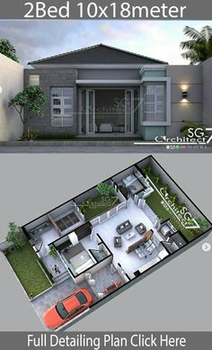 2 Bedrooms home design plan 10x18m - Home Design with Plansearch