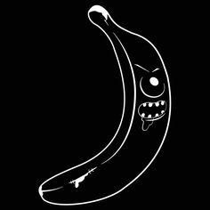 blackwork banana monster