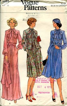 Sewing Patterns Vintage Out of Print Retro,Over 7000 ,Vogue Simplicity McCall's - Vogue 9263 Retro 1970's Loose Fitting Dress Evening Length