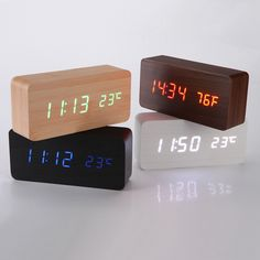 Voice Control Wooden Box LED Alarm Clock Digital Desk Clock Thermometer Calendar