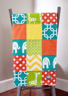 Baby Blanket Modern Baby Quilt  Bright Colors 2 by GiggleSixBaby, $90.00