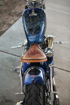 Harley Davidson 75 Ironhead. Custom paint, custom rear fender, hand tooled seat, Z-Bars, modified King Tank.
