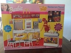 Barbie Mcdonald's Fun Time Restaurant Playset 2001 Mattel Factory for sale online Barbie Sets, Barbie I, Barbie World, Barbie And Ken, Pictures Of Barbie Dolls, Mcdonald's Restaurant, Barbie Playsets, Barbie Accessories, Barbie Collection