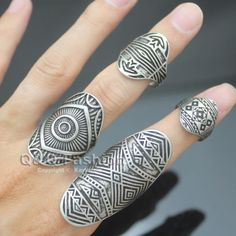 Stack 4 Vintage Silver Tribal Indian Mayan Calendar Aztec Warrior Band Men Ring