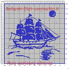 Gallery.ru / Фото #198 - Море, корабли (схемы) - Olgakam Filet Crochet, Crochet Motifs, Crochet Patterns, Crochet Boat, Cross Stitch Fabric, Pixel Art, Needlework, Cool Art, Quilts