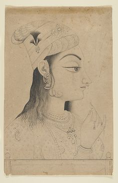 A woman of the Kishangarh court dressed as Radha, Krishna's lover. The elongated head and stylized eye are typical of a figural type that emerged in the Kishangarh court in the late 18th C. Woman with a Turban Dressed as Radha late 19th C. India (Rajasthan, Kishangarh).  Ink and wash on paper.
