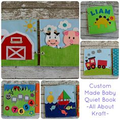 Custom made Quiet Book - baby themed, baby gift, felt train, button wheels, barn with finger puppets