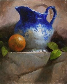 Flo Blue with Orange by Kathy Tate Oil ~ 14 x 11 Still Life Drawing, Still Life Oil Painting, Still Life Art, Oil Painting For Beginners, Oil Painting Techniques, Painting Tips, Painting Videos, Painting Tutorials, Oil Painting Flowers