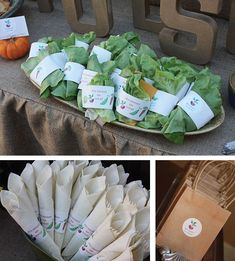 Burlap table cloth and brown paper bags