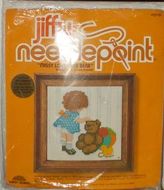Missy Loves Her Bear Sunset Designs Jiffy Needlepoint Kit #JiffyNeedlepointSunsetDesigns #Sampler
