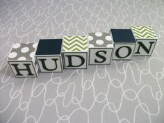 Baby Name Blocks - Green Navy Gray