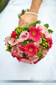 Pink Gerbera, Green Hypericum, Pink Roses
