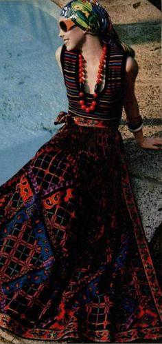 L'Officiel 1970, ethnic maxi skirt