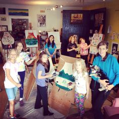 First week of 2014 kids summer art camp complete! Sizzlin' Studio! Apron fabric painting, ceramic pot painting and planting beans, pet portraits, door signs and special effects make up! Awesome group!