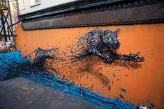 L'artiste d'origine chinoise DALeast est spécialisé dans le street art et son travail est facilement reconnaissable via son style unique de graffitis 3D.