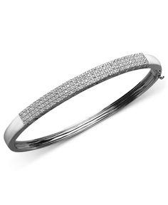 Pave Diamond Bangle Bracelet in Sterling Silver (1/2 ct. t.w.)