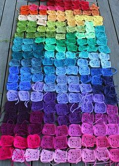 rainbow - think it's crochet, but it could be inspiration for a quilt...