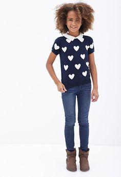 Collared Heart Print Tee (Kids) | FOREVER21 girls - 2000102580