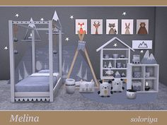 Melina - The Sims 4 Catalog Toddler Furniture, Sims 4 Cc Furniture, The Sims 4 Bebes, Sims 4 Beds, Sims 4 Bedroom, 4 Wallpaper, Sims 4 Toddler, Kids Bedroom Sets, Sims 4 Build