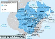Carte des territoires ayant était contrôlés par la France en Amérique du Nord / cette carte s'appuie sur plus de 74 Sources que j'ai vérifiées. Elle représente les 60 forts français les plus importants,