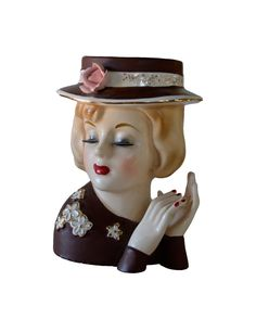 Vintage Lady Head Vase.  via Etsy.