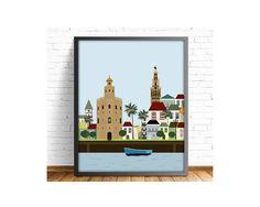 Sevilla,lamina Sevilla,laminas imprimibles,cuadro Sevilla,Giralda,Torre del oro,laminas ciudades,cuadros ciudades,Incluye 4  tamaños