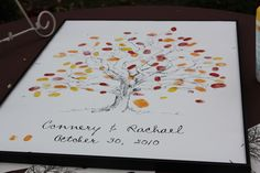 I love custom art and what better way to commemorate the day than fingerprint leaves on a tree. Could do this in lieu of a guest book.