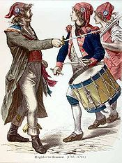 SANS-CULOTTES - meaning without culottes (or silk pantaloons), were the left-wing partisans of the lower classes (often urban laborers); notice here pictured on the left is a Sans-culotte while figures on the right wear the typical pantaloons (Empire Period)
