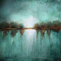 original landscape minimalism teal textured made to order marems  number 20. $200.00, via Etsy.