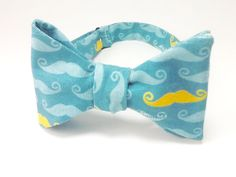 Movember Mustaches on Blue Bow Tie by SpeicherTieCompany on Etsy, $25.00