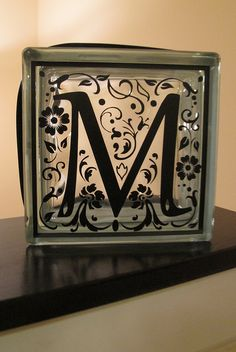 LOVE this - glass block with monogram letter; silhouette