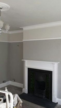 After painting in Dulux matt misty mountain, pebble shore (above picture rail and on ceiling) and white cotton satinwood. Living Room Paint, Living Room Grey, Home Living Room, Living Room Designs, Living Room Decor, Victorian Living Room, Edwardian House, Victorian Homes, Picture Rail Molding