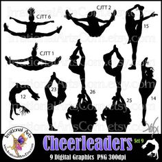 Cheer Stunt Team Silhouettes Set 9 with 9 PNG digital files Cheerleading Tattoos, Cheerleading Cheers, Cheerleading Quotes, Cheer Moves, Cheer Stunts, Cheer Stretches, Softball Pictures, Cheer Pictures, Silhouettes