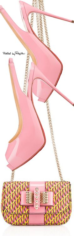 Summer Pink Patent Leather Slingback Heels w Pink+Yellow Leather Mini Shoulder Bag 2015