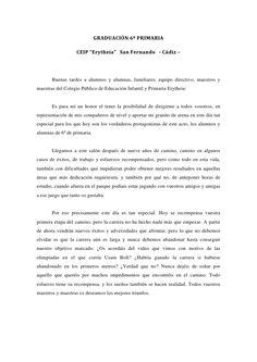 """GRADUACIÓN 6º PRIMARIA CEIP """"Erytheia"""" San Fernando - Cádiz – Buenas tardes a alumnos y alumnas, f..."""