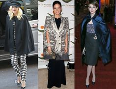 Gwen Stefani in a black Holmes & Yang cape with her black-and-white windowpane-check Michael Kors ensemble.   Lucy Liu in a double-breasted feather-print trompe l'oeil Roberto Cavalli Fall 2012 cape, on Roland Mouret black column gown.  Anne Hathaway in a sapphire silk Burberry Prorsum Spring 2013 cape at the 'Les Miserables' after-party, over her Altuzarra dress.