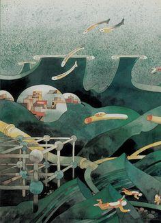 Don Weller - Boys' Life illustration, Nov. 1991, Isaac Asimov's Futureworld: The Future of the Sea, page 26.