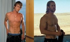 """Chris Hemsworth skinny in """"Home & Away"""" and after bulking up for """"Thor"""". How to get the Hemsworth look. Chris Hemsworth Diet, Chris Hemsworth Workout, Fitness Bodybuilding, Natural Bodybuilding, Crossfit Before And After, Bulking Diet, Big Muscles, After Life, Weight Loss Supplements"""