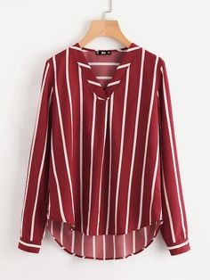 Sheinside Red Striped Work Shirt V-Placket Curved High Low Office Blouse Women Long Sleeve Casual Tops Summer Ladies Blouse Striped Long Sleeve Shirt, Long Sleeve Tops, Red Blouses, Blouses For Women, Office Blouse, Work Blouse, Work Shirts, Casual Tops, Men Casual